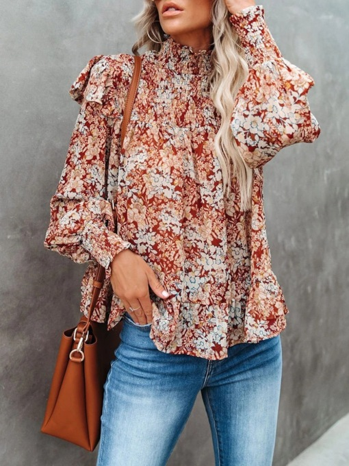 Floral Pleated Stand Collar Long Sleeve Women's Blouse