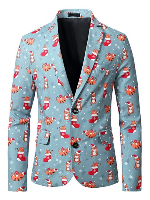 European Christmas Slim Print Notched Lapel Men's Blazer