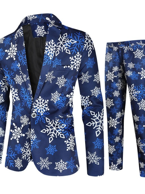 Christmas One Button Blazer Floral European Men's Dress Suit