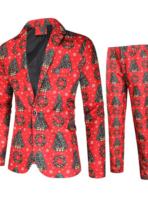 Christmas Blazer One Button European Print Men's Dress Suit