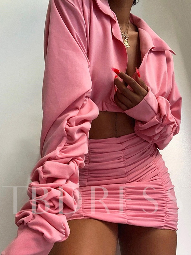 Plain Pleated Sexy Skirt Lapel Women's Two Piece Sets