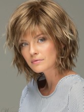 Messy Look Women's Shoulder Length Style Features Choppy Layers Wavy Human Hair Women Capless 12 Inches 120% Wigs