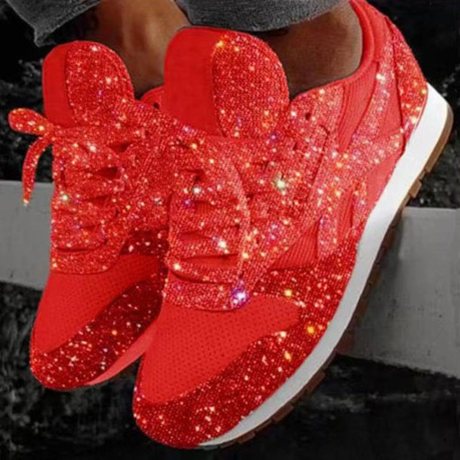 Lace-Up Low-Cut Upper Sequin Round Toe Mesh Sneakers
