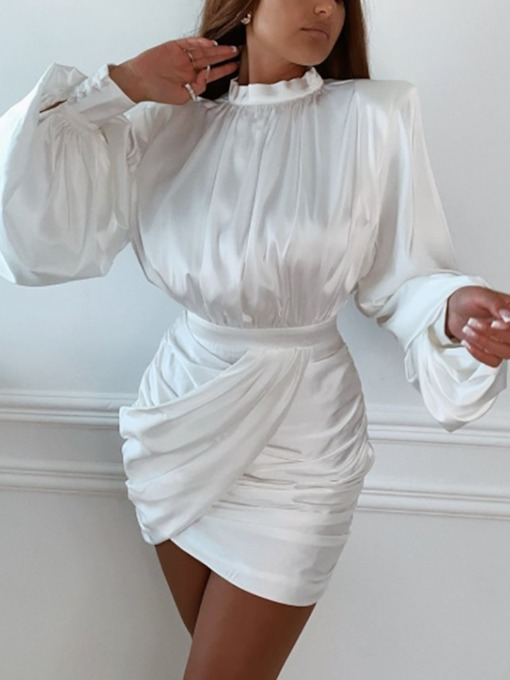 Pleated Above Knee Stand Collar Long Sleeve Party/Cocktail Women's Dress
