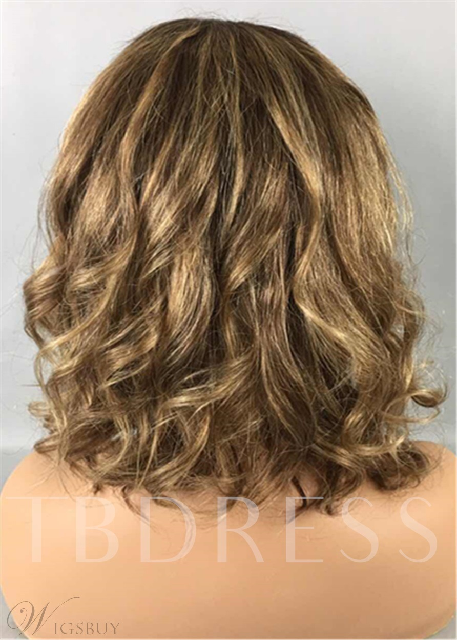 Hot Sale Mixed Color Bob Hairstyle Wavy 100% Human Hair Lace 12 Inches 120% Wigs
