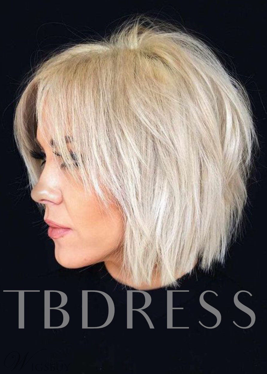 Short Choppy Pixie Cut Hairstyles Women's Blonde Color Straight Human Hair Lace Front Cap Wigs 120% 10Inch
