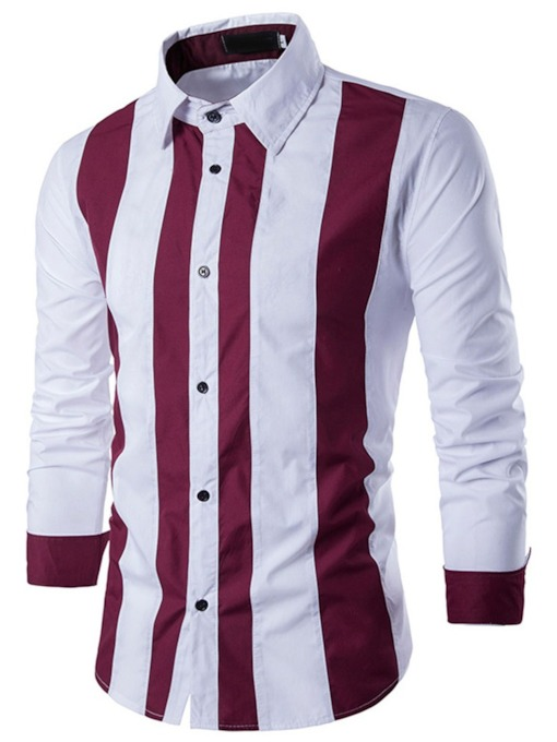 Stripe Lapel Fall Men's Shirt