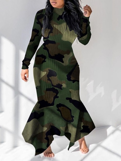Floor-Length Long Sleeve Asymmetric Pullover Women's Dress