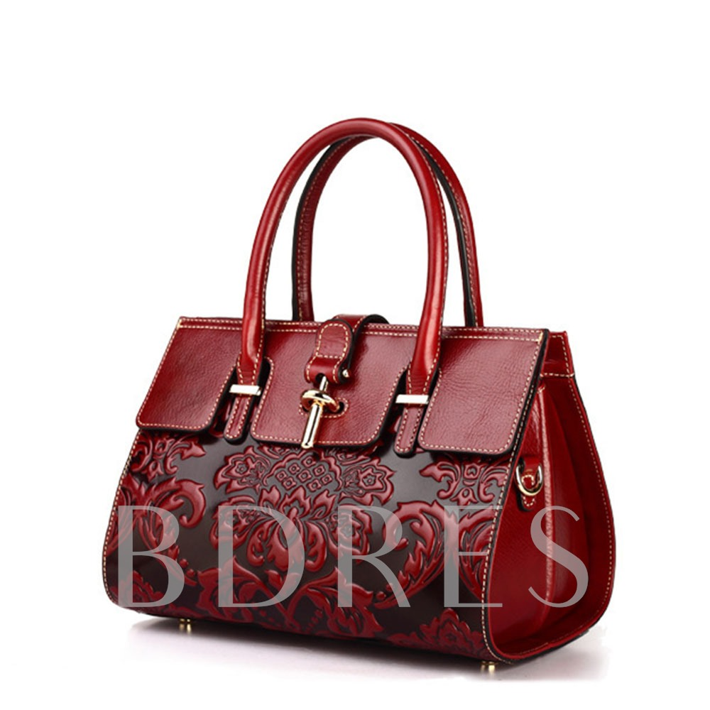Floral Embossing Fashion Tote Bags