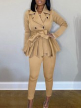 Sweet Pleated Coat Plain Double-Breasted Women's Two Piece Sets