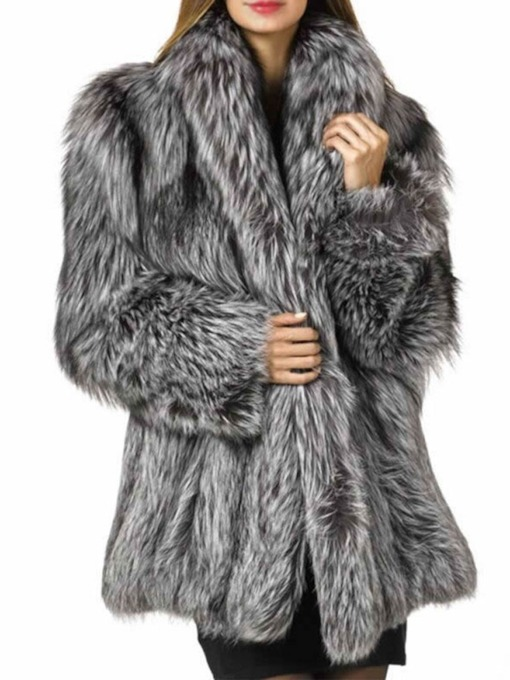 Mid-Length Plain Regular Lapel Loose Women's Faux Fur Overcoat