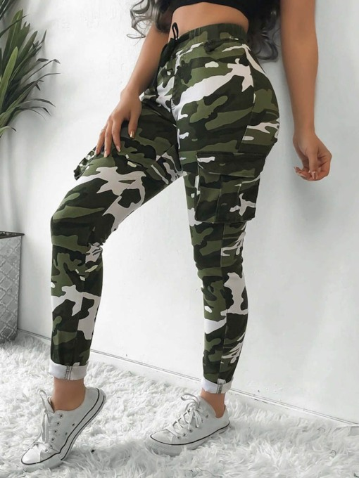 Camouflage Slim Pocket High Casual Damen Freizeithose
