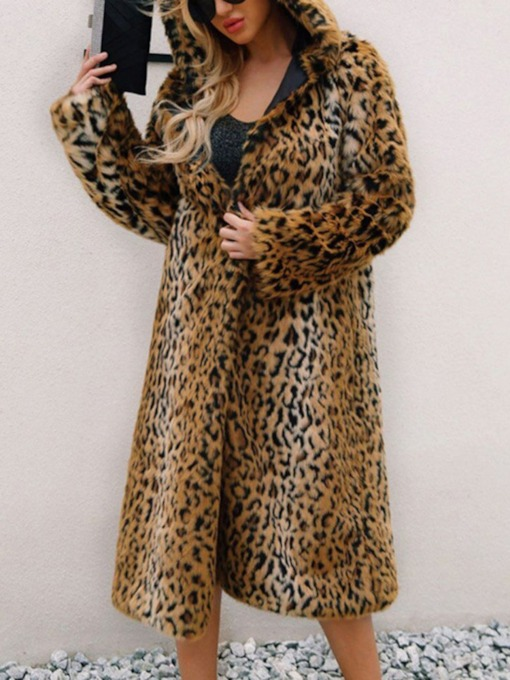 Hooded Regular Leopard Long Winter Women's Faux Fur Overcoat