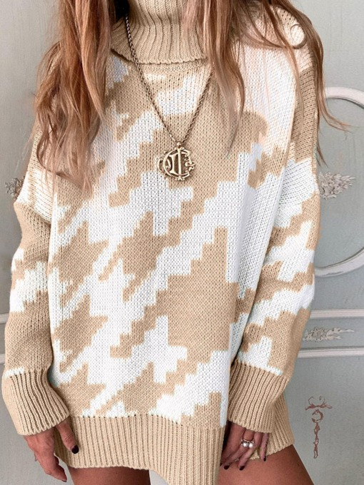 Pullover Thin Regular Patchwork Long Sleeve Women's Sweater