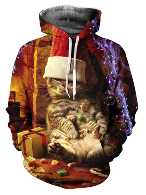 Print Animal Pullover Casual Christmas Men's Hoodies