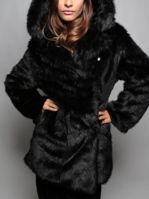 Hooded Regular Mid-Length Plain Winter Women's Faux Fur Overcoat