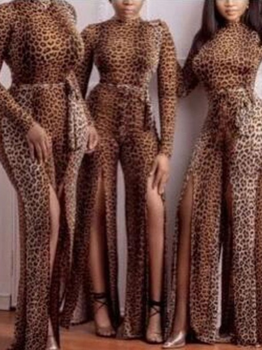 Full Length Sexy Print Leopard Slim Women's Jumpsuit