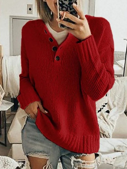 Pullover V-Neck Thin Regular Patchwork Long Sleeve Women's Sweater