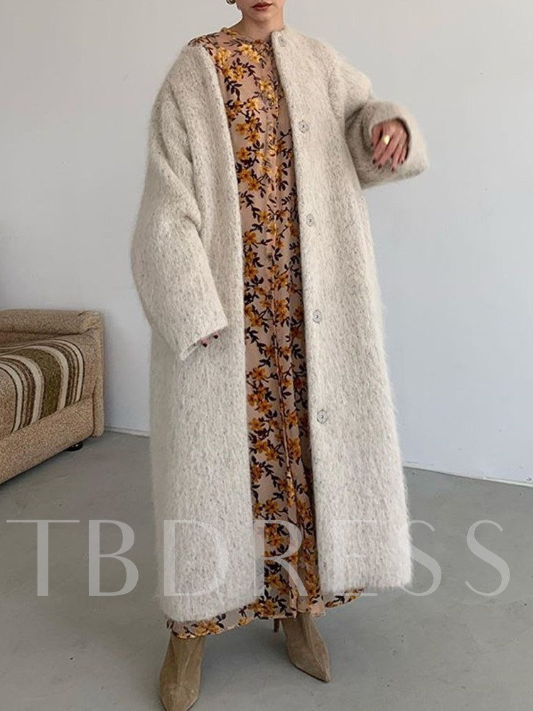 Regular Loose Single-Breasted Button Women's Overcoat