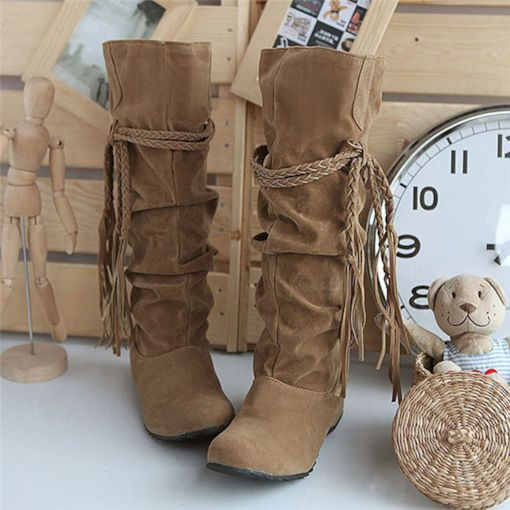 Plain Slip-On Round Toe Fringe Boots