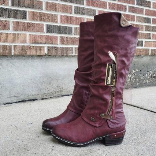 Fashion Side Zipper Patchwork Round Toe Thread Boots