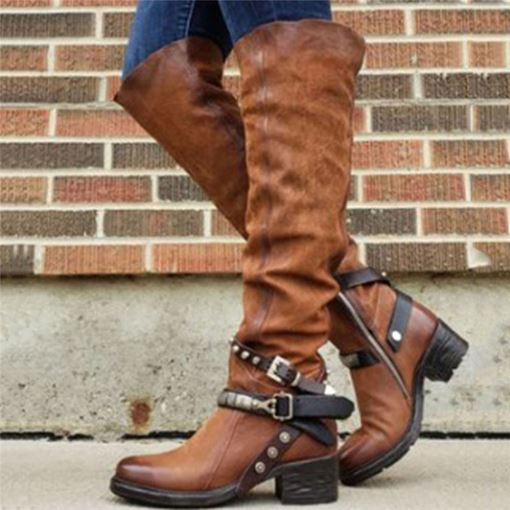 Round Toe Side Zipper Vintage Boots