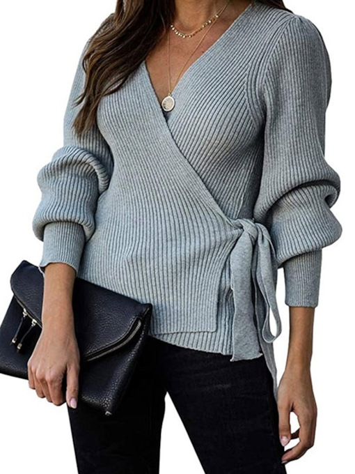 Regular Lace-Up Lace-Up Thin Standard Women's Sweater