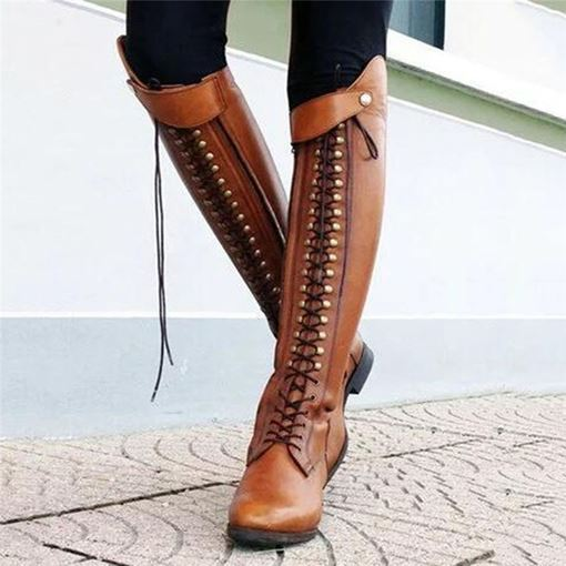 Block Heel Lace-Up Front Plain Round Toe England Boots