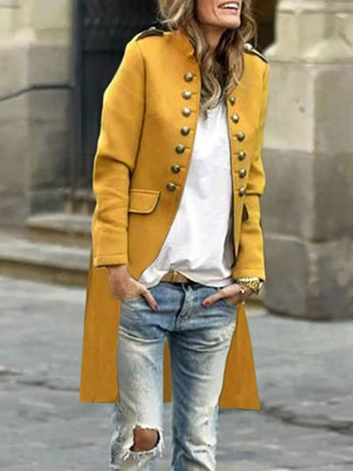 Double-Breasted Mid-Length Button Stand Collar Western Women's Trench Coat
