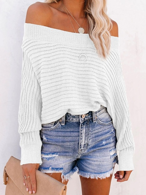 Batwing Sleeve Patchwork Thin Batwing Women's Sweater