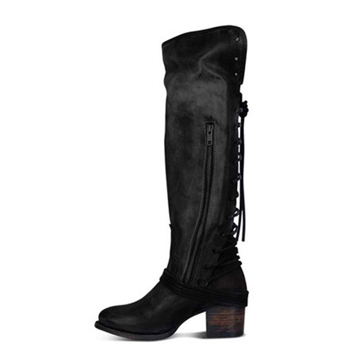 Round Toe Patchwork Side Zipper Western Boots