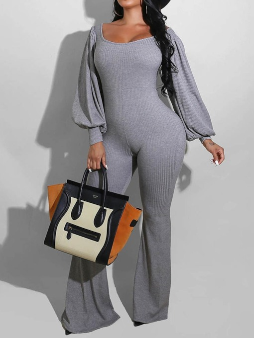Sexy Full Length Casual Plain Skinny Women's Jumpsuit