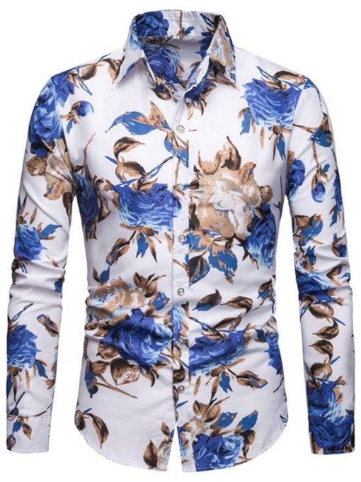 European Print Floral Lapel Slim Men's Shirt