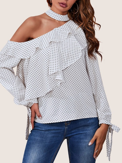 Regular Polka Dots Falbala Long Sleeve Women's Blouse