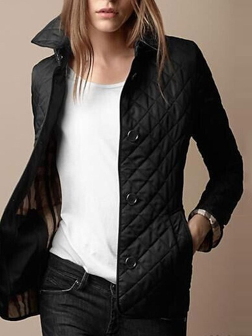 Single-Breasted Button Straight Standard Women's Cotton Padded Jacket