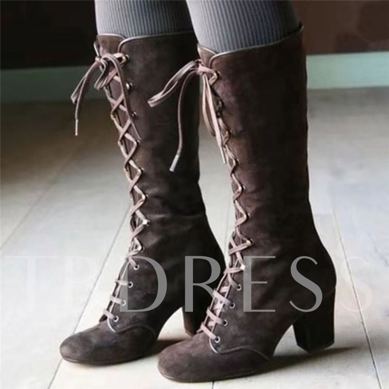 Lace-Up Front Chunky Heel Plain Round Toe Cross Strap Boots