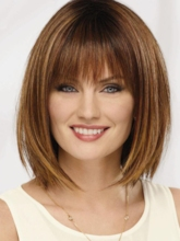 Short Bob Hairstyles Women's Straight Human Hair Wigs With Bangs Capless 120% 12 Inches Wigs