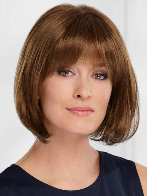 Women's Straight Bob Style Human Hair Wigs With Bangs Capless 10 Inches 120% Wigs