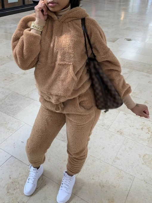 Plain Hoodie Casual Hooded Women's Two Piece Sets