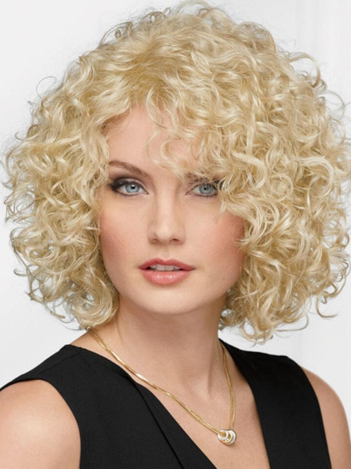 Afro Curly Women's Blonde Color Bob Style Curl Human Hair Capless 14 Inches 120% Wigs
