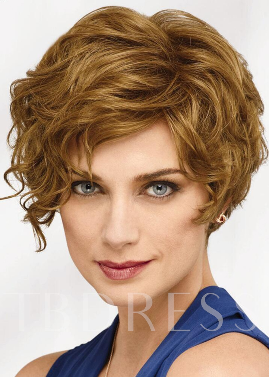 Natural Looking Women's Short Layered Wavy Human Hair Capless 10 Inches 120% Wigs