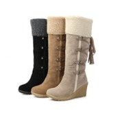 Slip-On Round Toe Wedge Heel Casual Boots