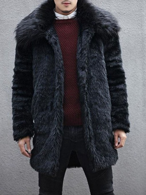 Lapel Plain Mid-Length Winter Men's Coat