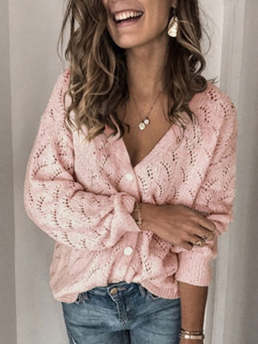 Regular Hollow Thin Single-Breasted Loose Women's Sweater