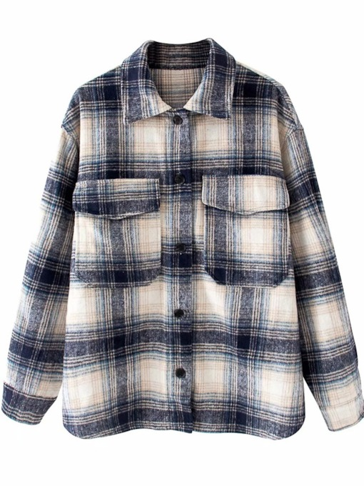 Pocket Plaid Lapel Regular Mid-Length Women's Shirts