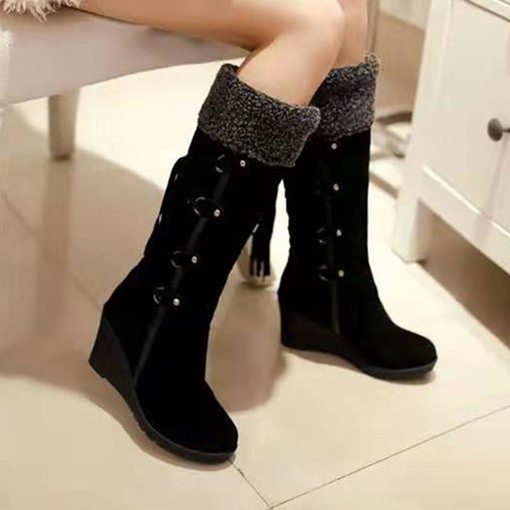 Wedge Heel Slip-On Round Toe Western Boots