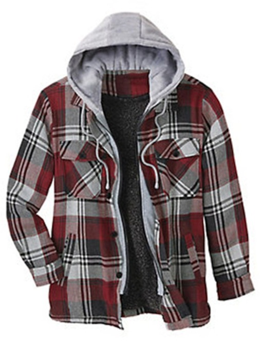 Plaid Fleece Hooded Pocket Casual Men's Jacket
