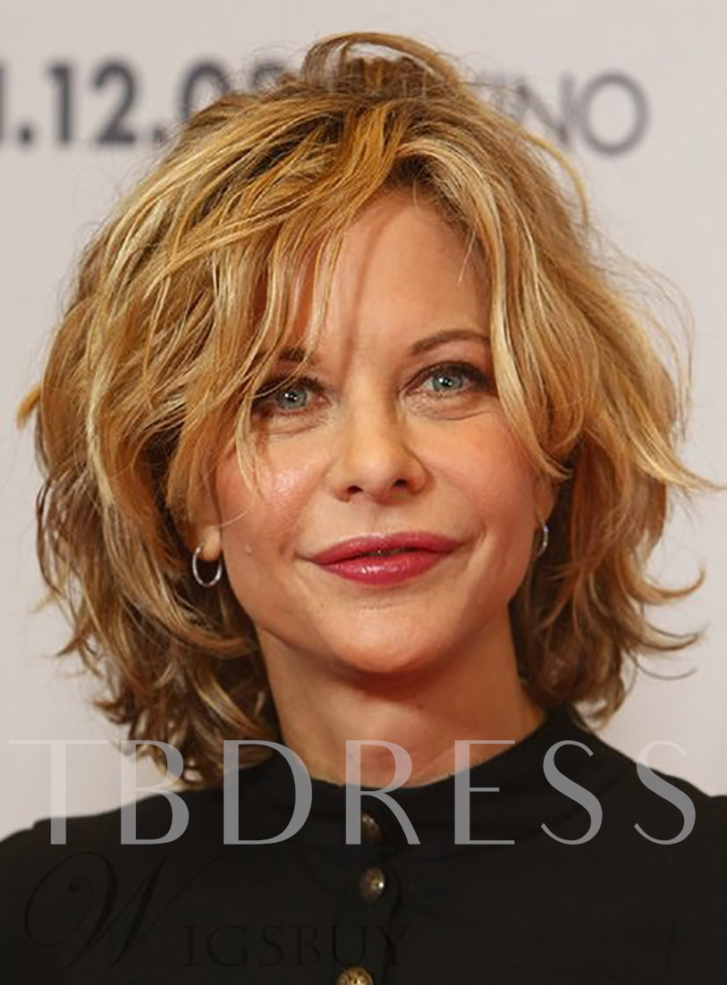 Elegant and Beautiful Messy Short Layered Wavy 100% Human Hair Full Lace 10 Inches 120% Wigs