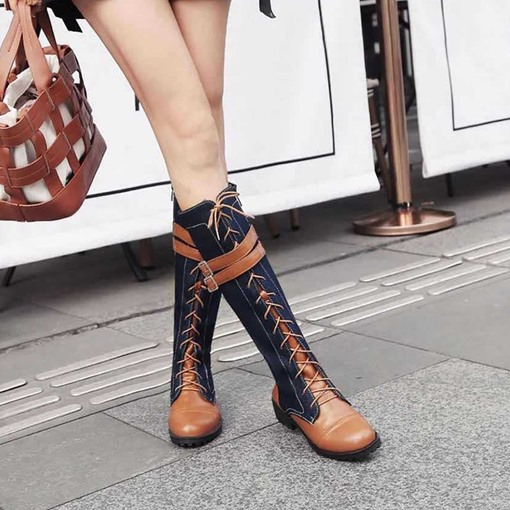 Side Zipper Color Block Round Toe Cross Strap Boots