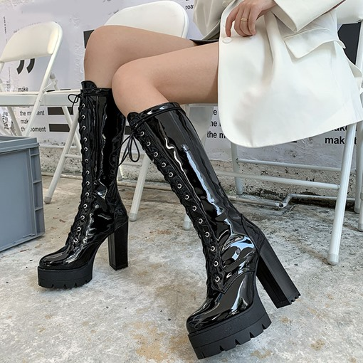 Round Toe Chunky Heel Plain Lace-Up Front Western Boots
